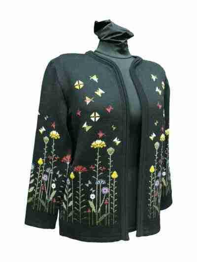Kukkajakku väri musta merinovillaa