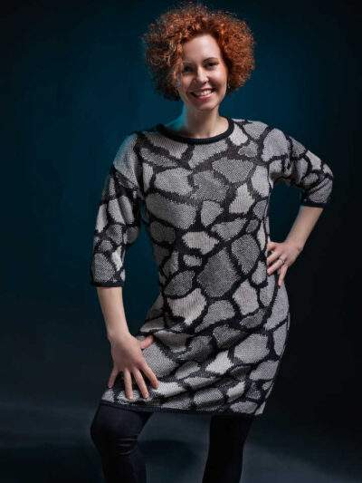 Giraffe knitted dress made of organic cotton wool.